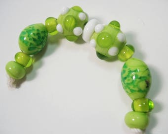Handmade  Lampwork  Lime Green Beads, Lampwork Glass Beads, 11 Artisan Lampwork Beads, B84.