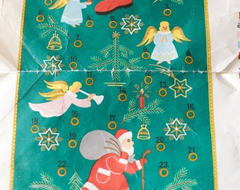 Vintage Christmas Advent Calendar Embroidery Kit Near Complete