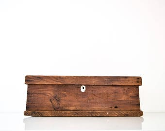 Wooden Box, Wood Tool Box, Large Wooden Handcrafted Primitive Toolbox, Vintage
