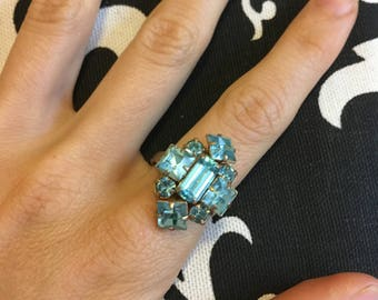 Vintage Ice Blue and Gold Geometic Ring