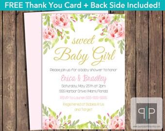 INSTANT DOWNLOAD Floral Baby Shower Invitation, Editable Pink Roses Baby Shower Invitation, Printable Girl Rose Baby Shower Invitation, P1