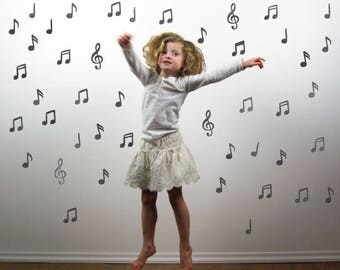 Music Note Wall Decals - Watercolor Musical Notes Fabric Wall Decals
