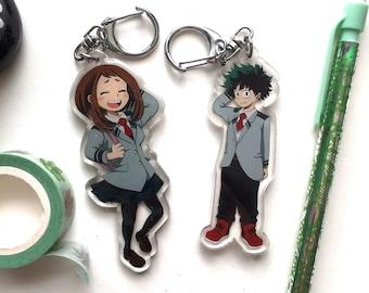 BHNA Deku and Ochako Glitter Keychains
