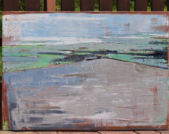 """Oil painting, canvas art, stretched, """"Landscape 34"""". Size 39,4/ 27,6 inches (100/70cm).  Free shipping."""