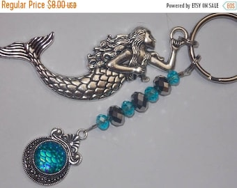15%OFF Large Silver Mermaid and Aqua Mermaid Scales Charm Aqua and Silver Faceted Glass Beaded Keychain Purse Charm