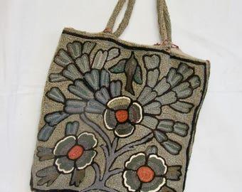 Vintage Needlepoint Bag  Crewel work knitting bag.  Vintage Purse