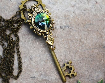 Emerald Steampunk Bronze key necklace