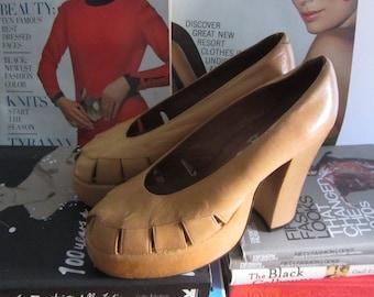 1970s camel leather platform heels | 70's Studio 54 disco glam | 1940s 40's Revival