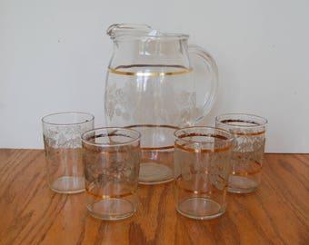 Vintage Juice Pitcher, Juice Glasses, Bartlett Collins, Frosted Grape, Frosted Fruit, Milk Pitcher, Retro, Gold Band Bartlett Collins