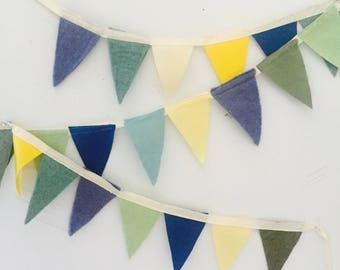Wool felt garland in blues greens and yellows