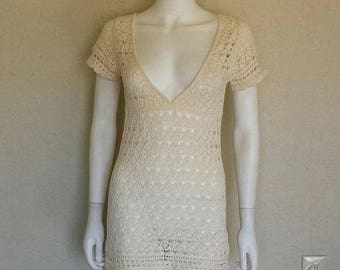 25% off SALE Creme crochet mini dress