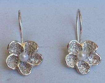SALE Bridal Pearl Earrings ,Flower Pearl Silver Earrings ,Sterling Silver 925 Dangle Earrings ,Handmade Pearl Earrings ,Pearl Wedding Earrin