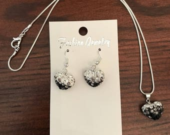 Black and White Rhinestone Heart Bead Necklace and Earring Set (Adult/Teen)