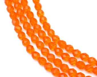 8mm Bright Orange Hyacinth Czech Glass Bead 8 Inch Strand, 25 pieces