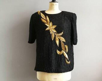 80s silk bead evening top / black gold flowers / 80s black bead sequin top / retro beaded tops / sparkly black top / black gold sequins