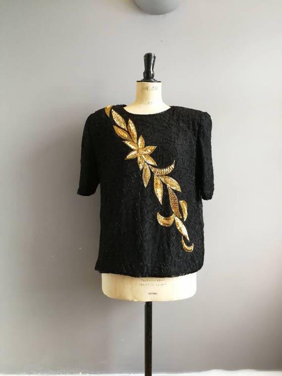 80s silk beaded evening top / black gold flowers / 80s black beaded sequin top / retro beaded tops / sparkly black top / black gold sequins