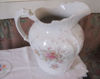 "VINtage water pitcher -no bowl - roses floral Shabby Decor-perfect no cracks, chips 11 1/2"" tall X 6 1/2"" handle X 4"" bottom"