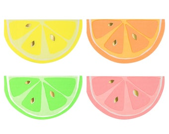 Citrus Paper Napkins (Set of 16) - Meri Meri Small Neon Party Napkins | Fruit Party