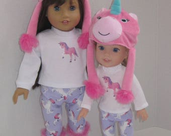 """14.5 inch doll clothes such as Wellie Wishers H4H Glitter Girls 18"""" dolls separates unicorn hat leggings t-shirt pink purple boots Made USA"""