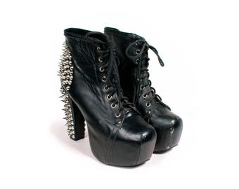 Black Stud Platform Boots