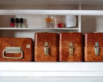 Bakelite Box Set Of 4, Brown Marbled Bakelite Chests, Old Memory Boxes,  Storage