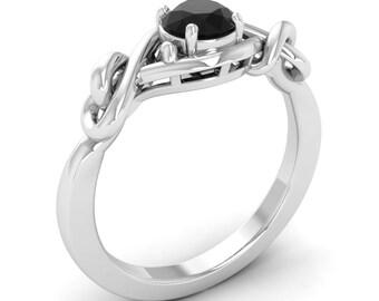 Black Diamond Engagement Ring, 14K White Gold, Promise Ring, Unique Engagement Ring, Anniversary/Wedding Ring, Christmas Gift Ring, Diamond