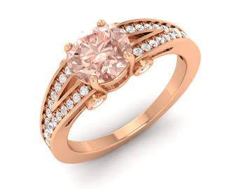 Round AAA Morganite Rose Gold With Diamond 14K Gold, Morganite Engagement Ring, 1.25 Total Carat Rose Gold Ring, Rose Gold Morganite Ring
