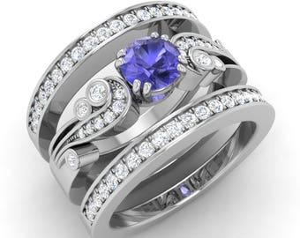Tanzanite Engagement Ring, Natural Round Tanzanite, Tanzanite Bridal Set in 14K White Gold, Certified Tanzanite & Diamond Wedding Band Ring