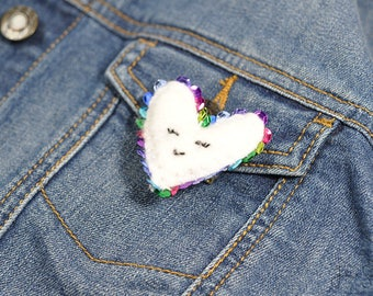 Small Plush Heart Embroider Bar Pin