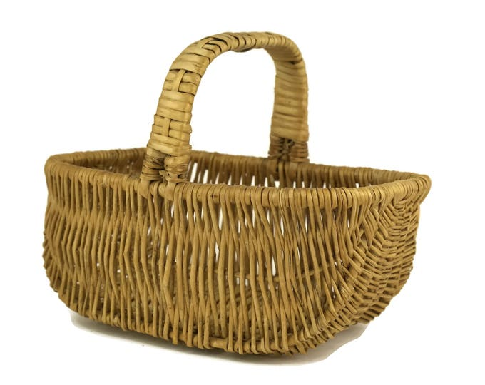 French Vintage Rustic Hand Woven Basket. Country Kitchen Decor. Gardening Gift.