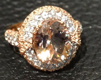 Morganite Ring Rose Gold White Sapphires 3.83 Carat TW  Vintage