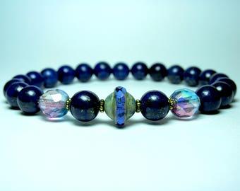 Lapis Lazuli Beaded Bracelet, Womens Beaded Bracelet, Stretch Bracelet, Gemstone Bracelet, Blue Bead Bracelet, Czech Saturn Bracelet