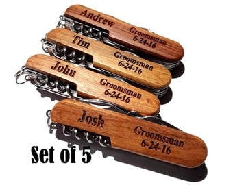 Groomsman Pocket Knife Set of 5 Groomsmen Gifts Engraved Pocket Knives Personalized Usher Father of Bride Father of the Groom Best Man