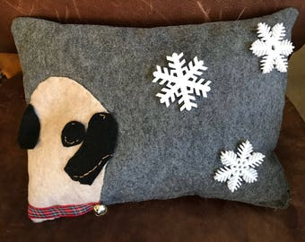 "Winter Pug Accent Pillow all handmade 11""X8"""