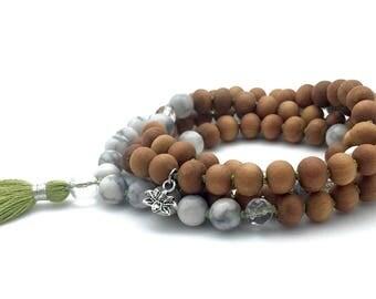 Sandalwood, Howlite & Quartz Mala with Hamsa charm, hand-made, 108 bead mala