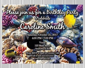Adult Birthday Party Invitation | Underwater Tropical Fish Photo Background | Custom Invitation | *DIGITAL FILE*