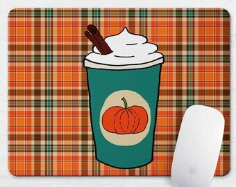 Pumpkin Spice Latte Plaid Mouse Pad Coaster, Fabric Mouse Pad, Desk Set, Autumn Plaid, Orange, Drink, Tapis De Souris, Cubicle, Laptop Mouse