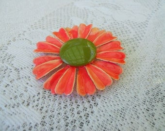 Vintage Enamel Flower Brooch Orange with Green Center
