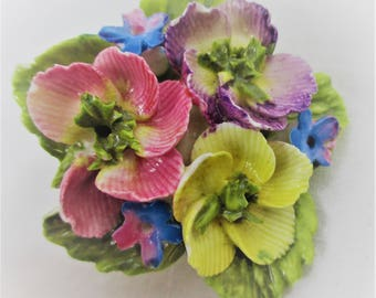 Vintage  Bone China  Flower Brooch