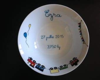 Personalized kids plate, handpainted, train
