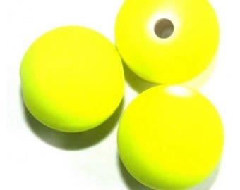 10 x 10 mm neon yellow satin glass round beads
