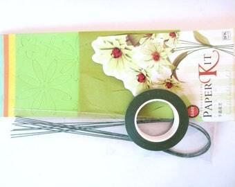 Flowers paper + green tutorial Kit