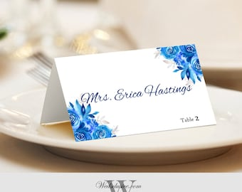 Watercolor Place Cards, Floral Wedding Name Cards, Blue Watercolor Flowers, Tented or Flat - Set of 12