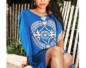 Royal Blue Butterfly Kaftan with Union Eco Print