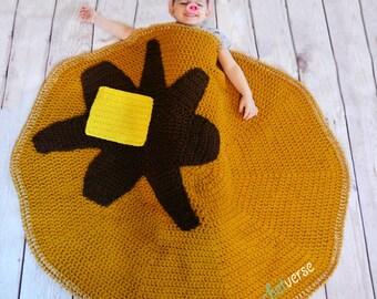 Crochet Pancake Afghan Pattern & Pig Ear Headband/Nosewarmer! Pigs in a Blanket - PDF File