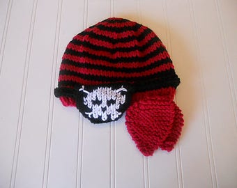 Cute Little Pirate Hat - Hand-Knit Baby Hat in Red and Black Stripes with Ties and Eye Patch
