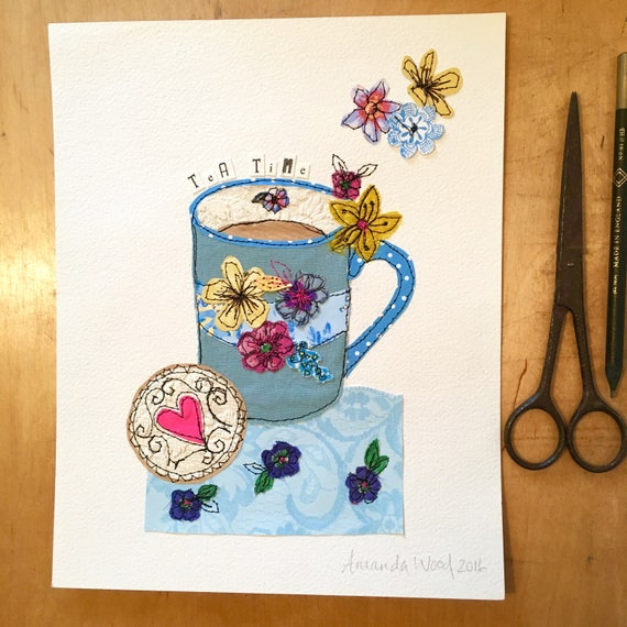 TeaTime brew- Stitched Original art-