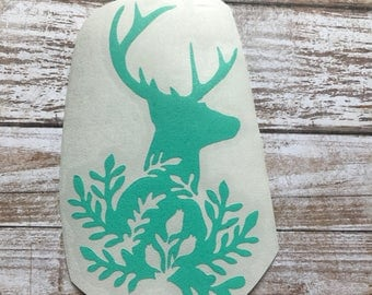 Floral Deer Country Vinyl Decal Car Laptop Wine Glass Sticker