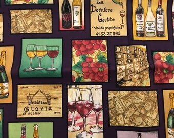 Grape fabric by the yard - grapes fabric - vineyard fabric - wine fabric - wine glass fabric - wine bottle fabric - wine cork fabric