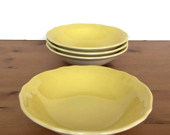 Sears Federalist coupe bowls vintage cereal buttercup yellow dishes